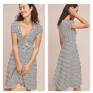 Maeve black white stripes short sleeves dress